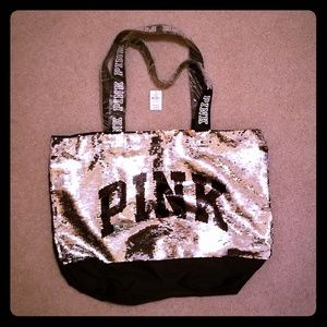PINK Sequined Oversized  travel tote
